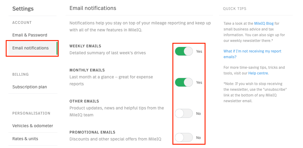 This image shows the Email Notifications page within the settings on the web dashboard