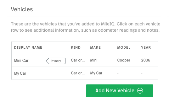 This image shows the Vehicles page, showing the list of cars on the web dashbord.