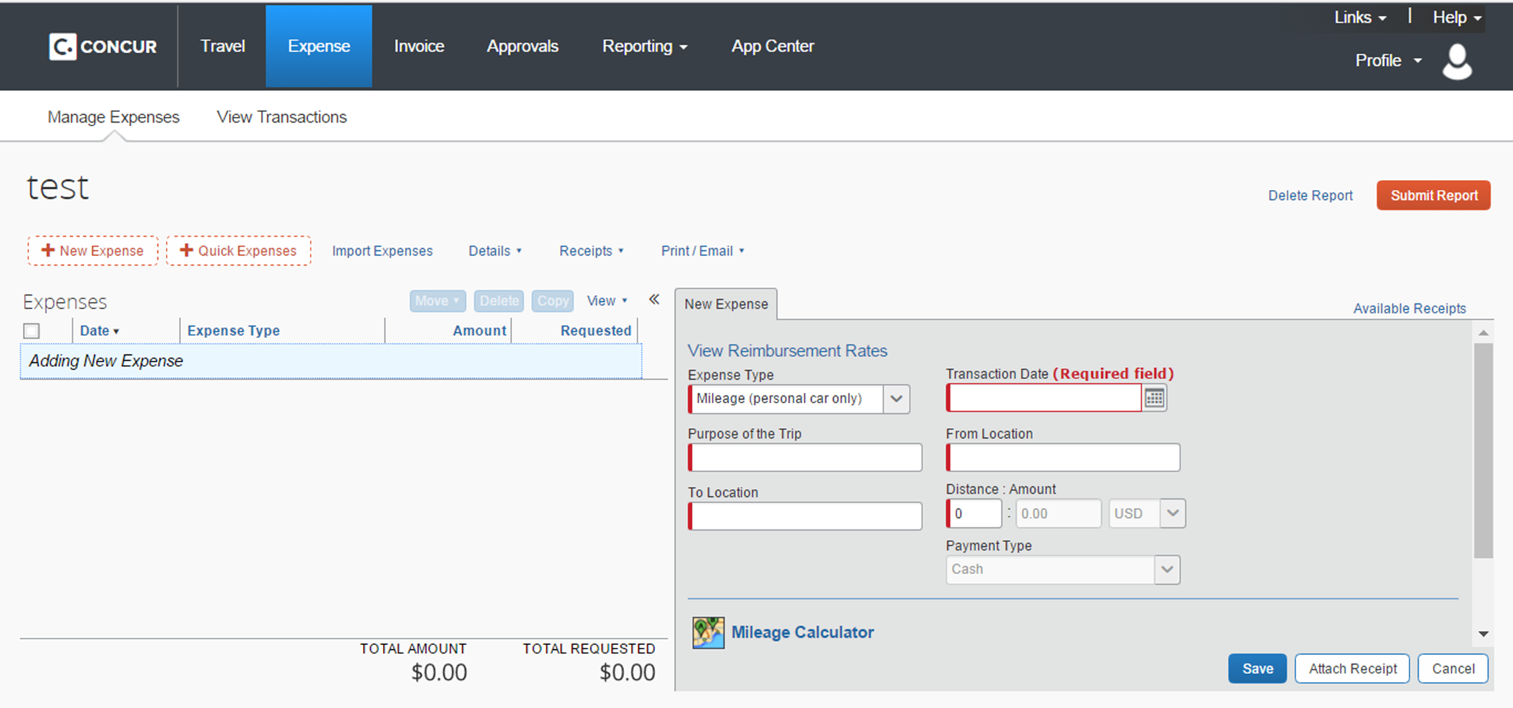 Screenshot showing the required default fields in Concur.