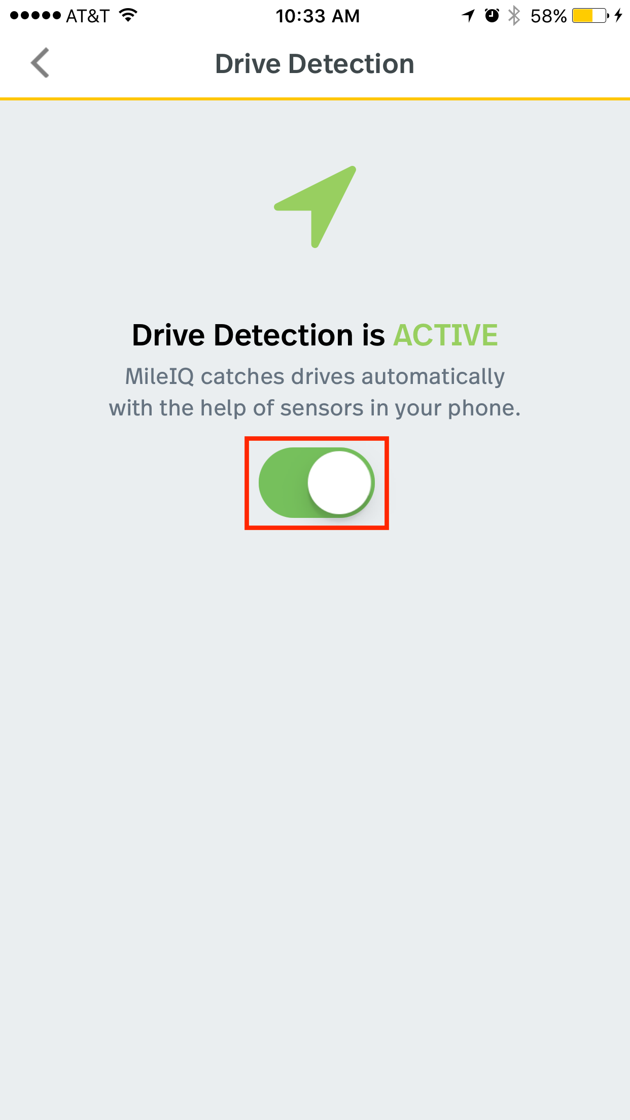 This image shows the drive detection page showing the drive detection toggle as green and active.