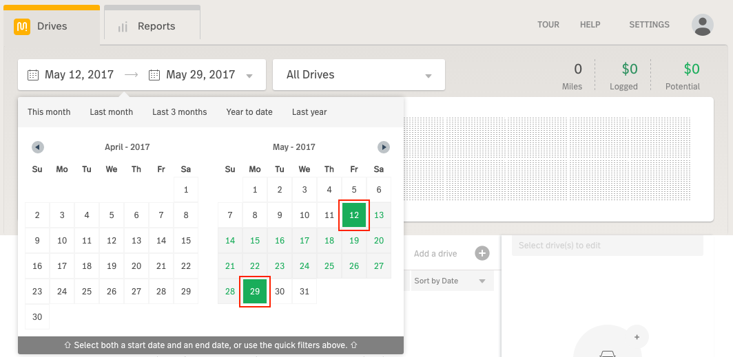 Screenshot highlighting the date range chooser in the drop-down for dates in the MileIQ Web Dashboard drives view.