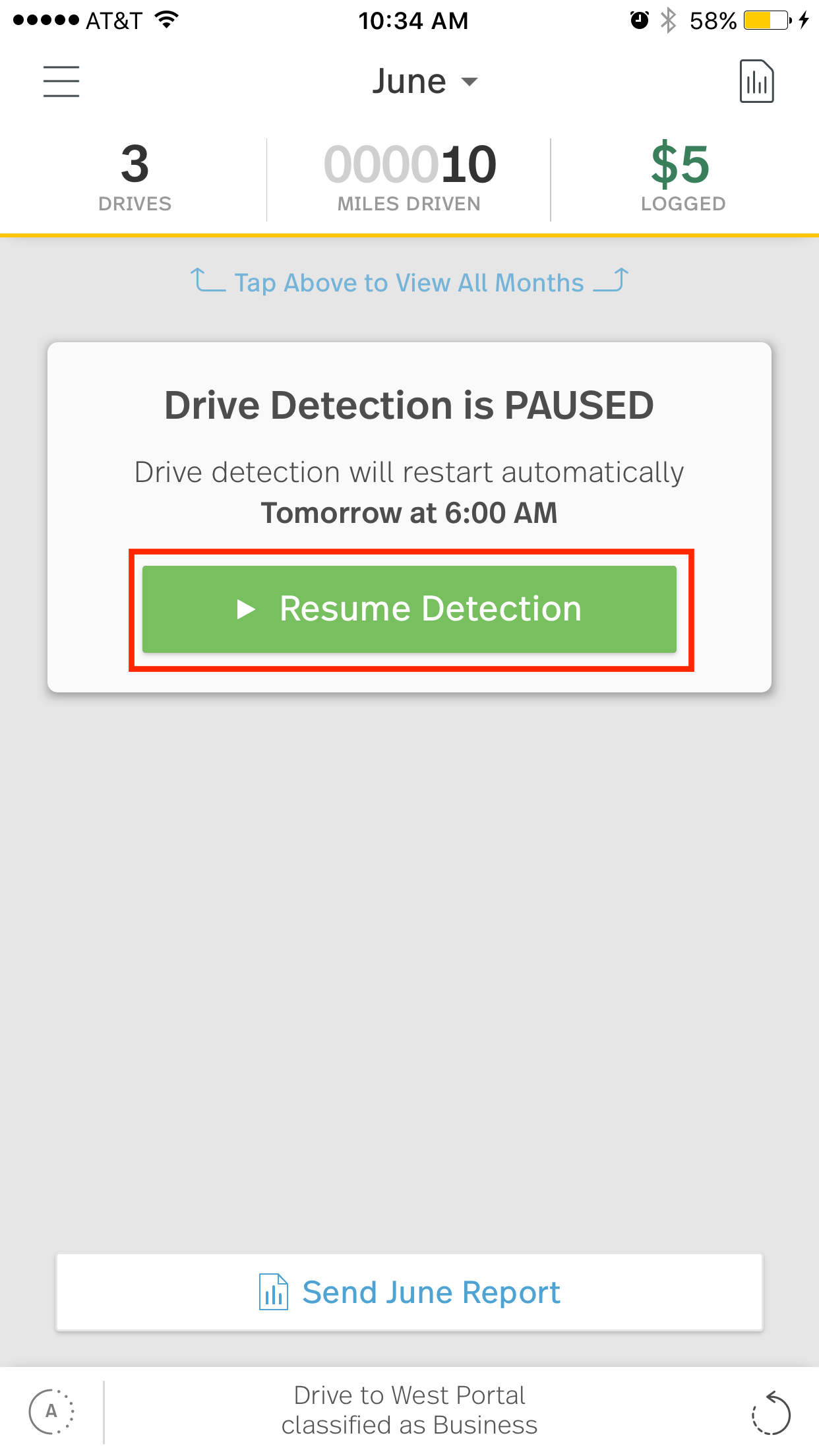 This image shows the MileIQ mobile app with drive detection paused. The resume detection button is highlighted.