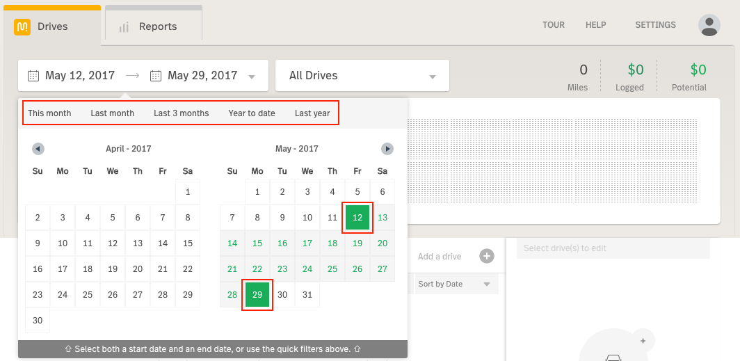 This shows the date filter opened with 2 specifc dates circled within a month and the quick-date filters