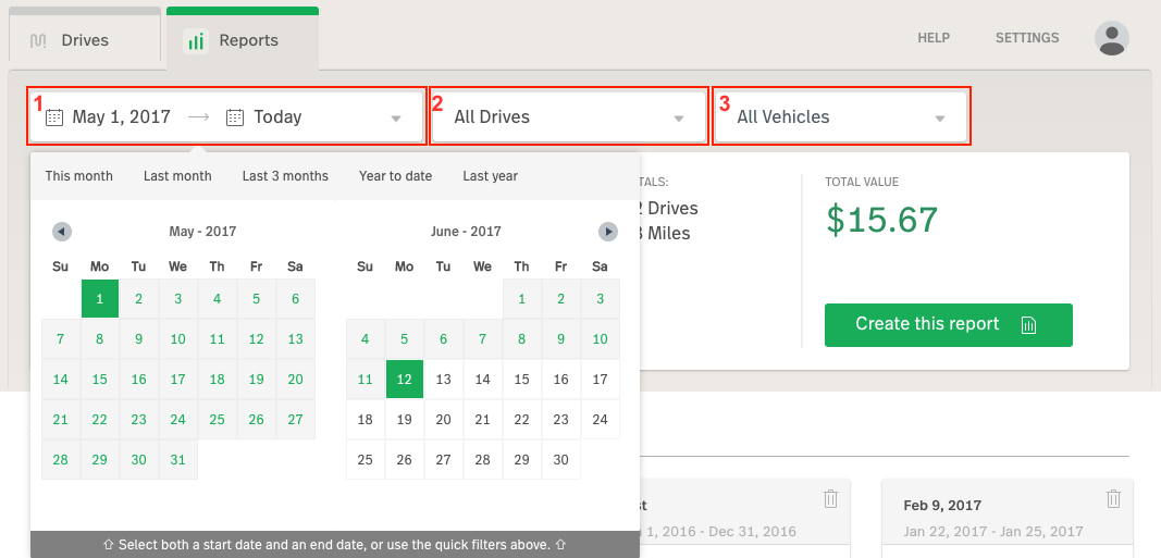 Screenshot showing the top portion of the Reports view in the Web Dashboard, highlighting the drop-down menus for the date chooser, drives chooser, and vehicles chooser (labeled 1, 2 and 3).