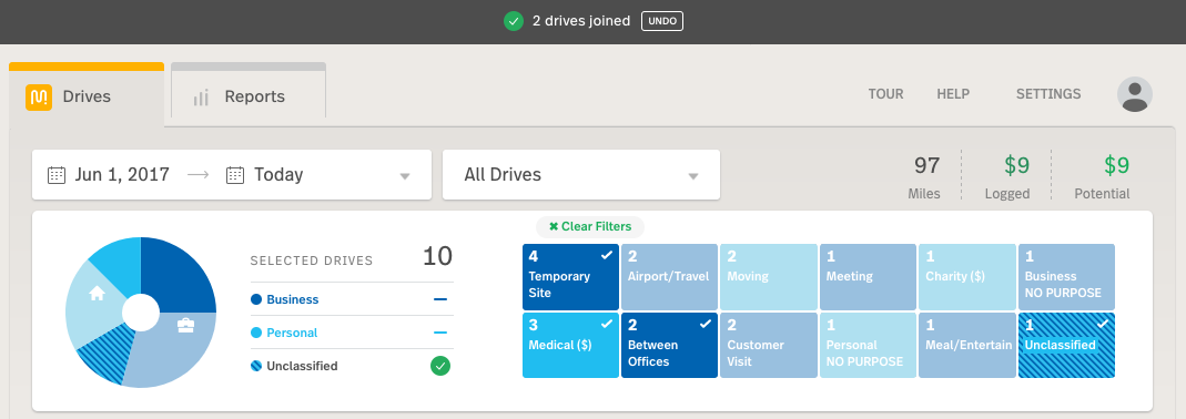 "Image of web dashboard with with announcement bar at the top confirming ""2 drives joined"" and providing an ""undo"" button"
