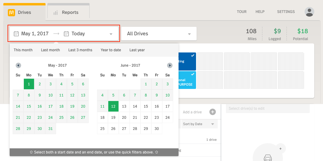 This image shows the MileIQ web dashboard, highlighting the Date Filter.