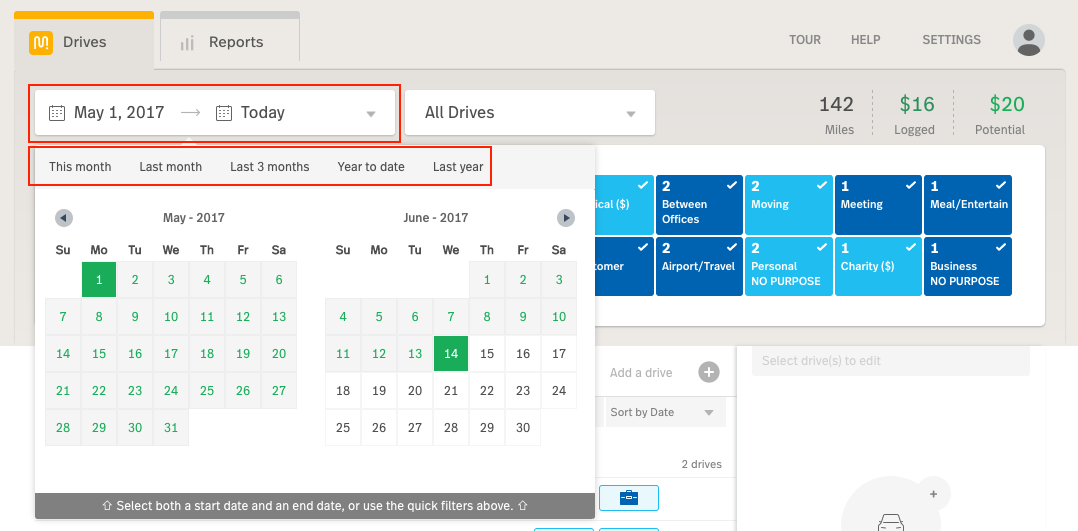 This image shows the MileIQ web dashboard, highlighting the date filter and the date range selectors.