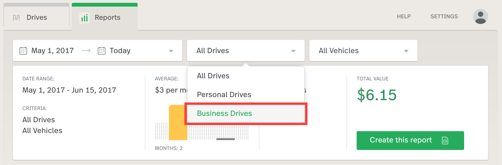 This image shows the drive selector, with business drives selected on the report builder.