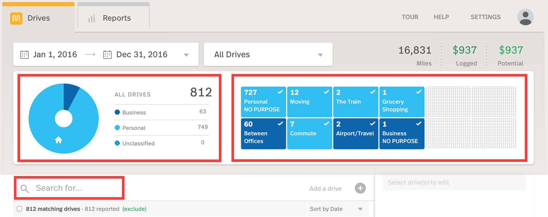 Screenshot of the MileIQ Web Dashboard Drives view highlighting the classification donut chart, all business and personal purpose tiles, and the search box.