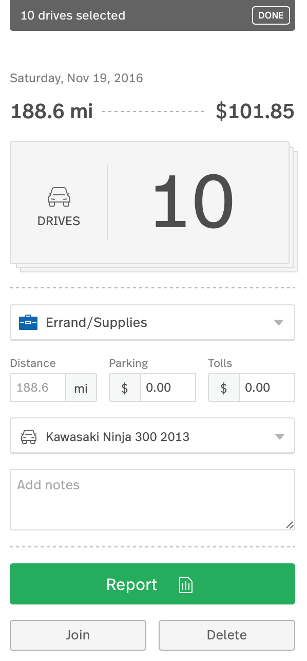 This image shows a multiple drive card that has been classified as Errand/Supplies.