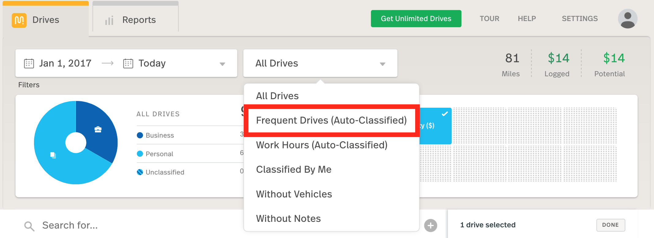 This image shows the web dashboard, highlighting the Frequent Drives selection in the drive filter dropdown.