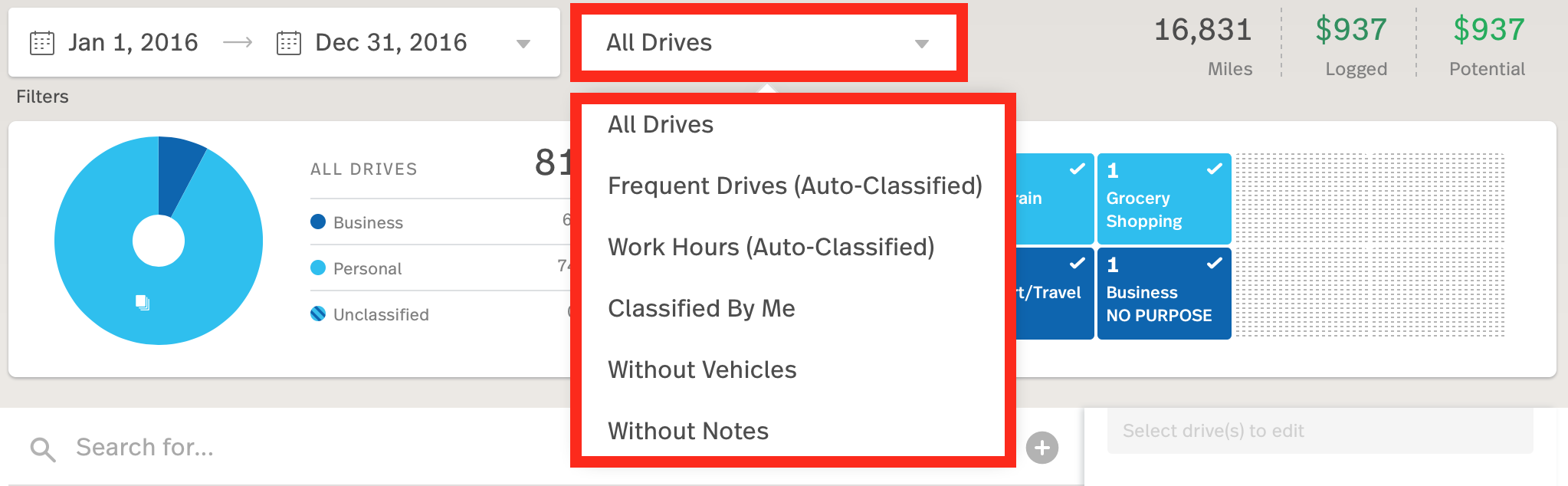 This screenshot is highlighting the All Drives filter on the MileIQ web dashboard.