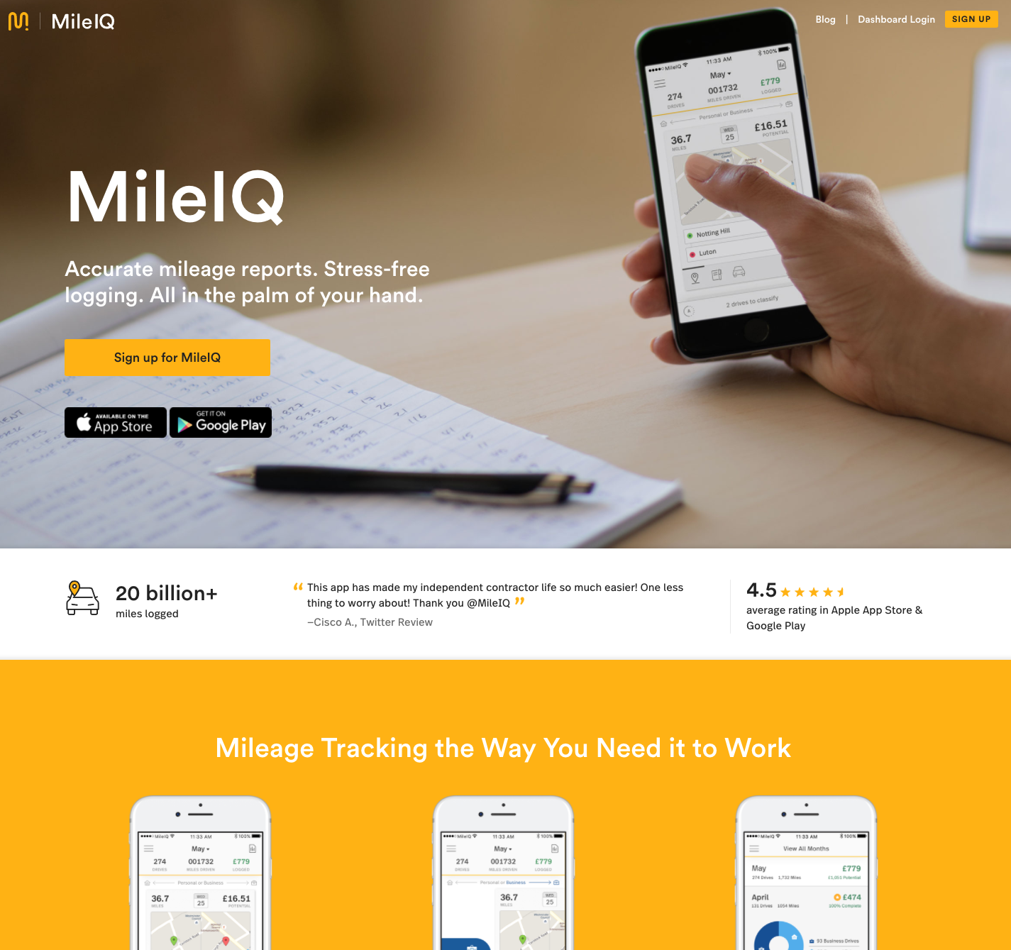 This is an image of the MileIQ UK website.