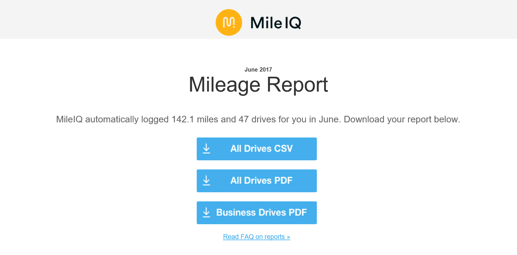 image of email with buttons to download CSV and PDF reports for June