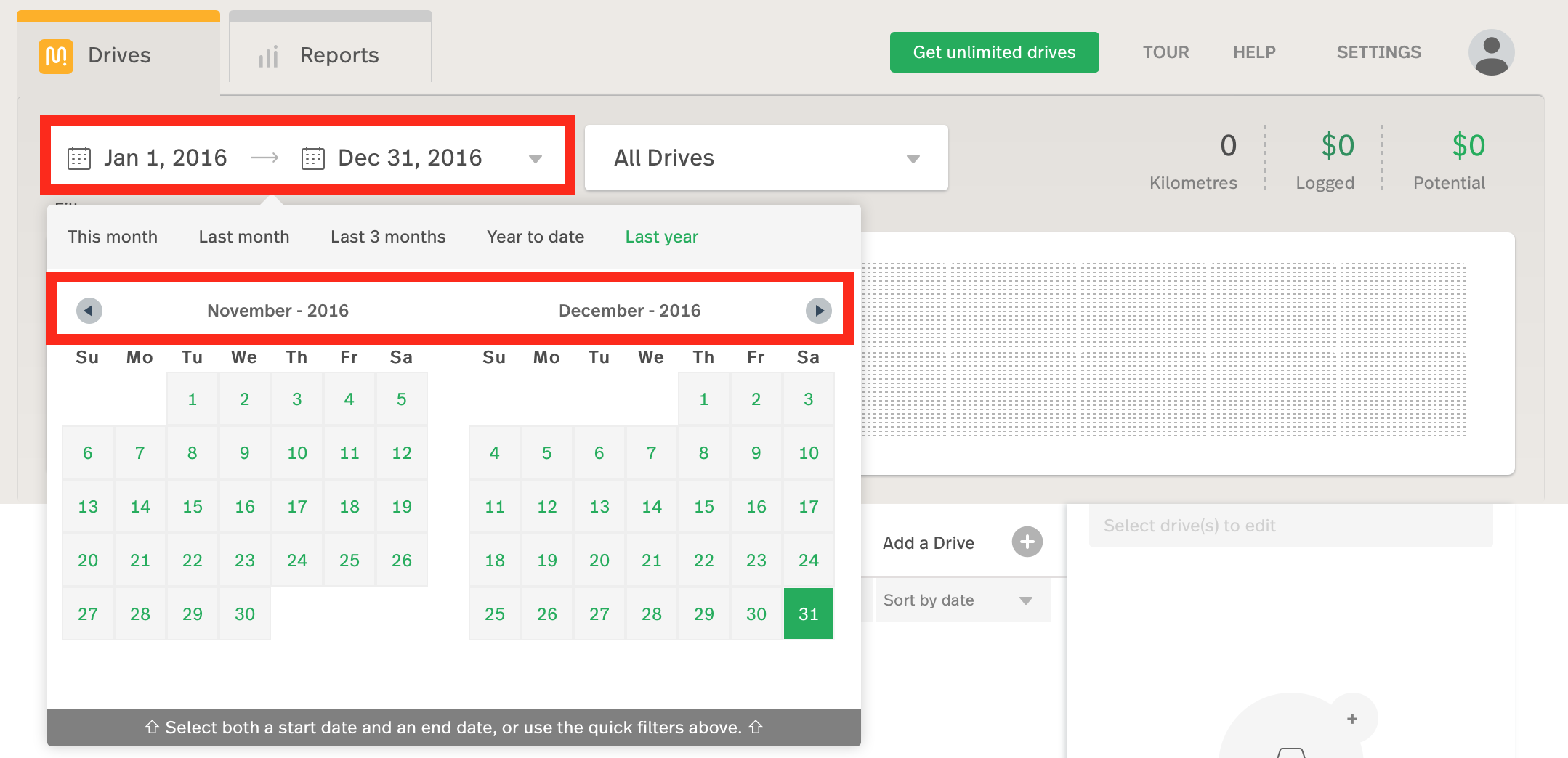 "image of dashboard with date picker highlighted and enabled to show the ""Last year"" option selected"