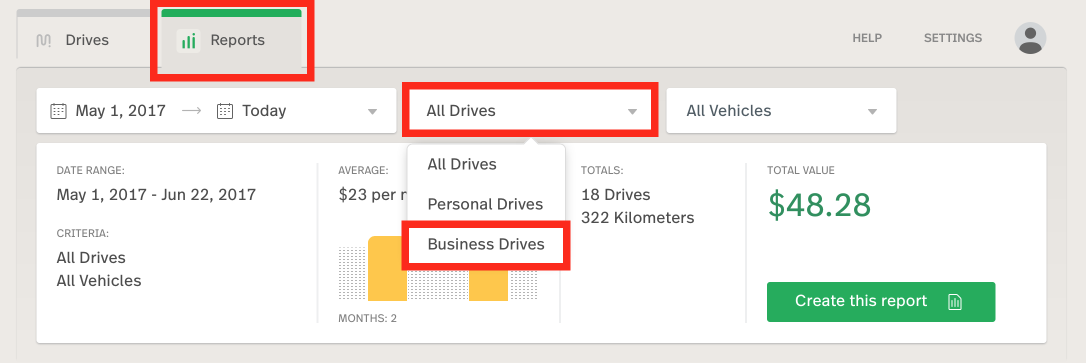 This image shows the reports tab, highlighting the business drives filter.