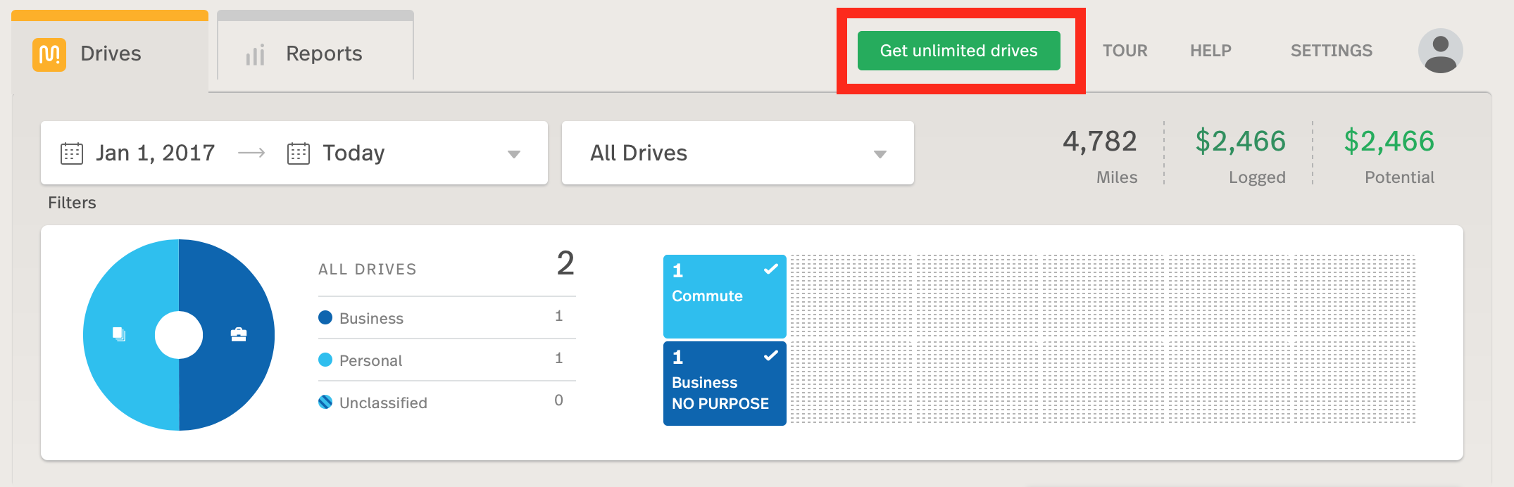 Screenshot shows the Get Unlimited Drives circled at the top of the web dashboar