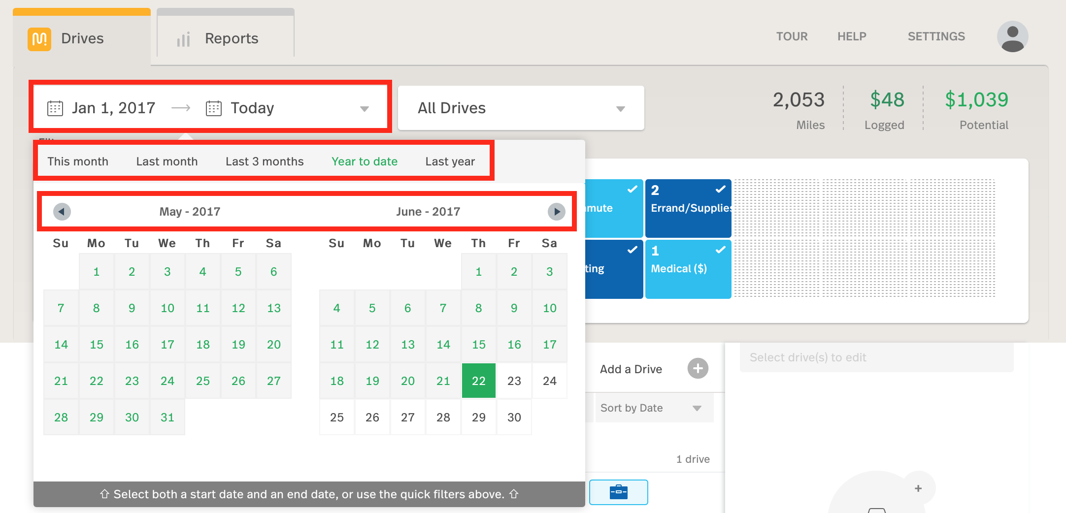 This is a screenshot of the MileIQ web dashboard with multiple filters set on the drives list.