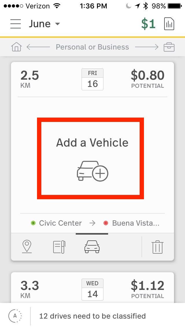 This image shows the Vehicles tab, highlighting the add a vehicle button.