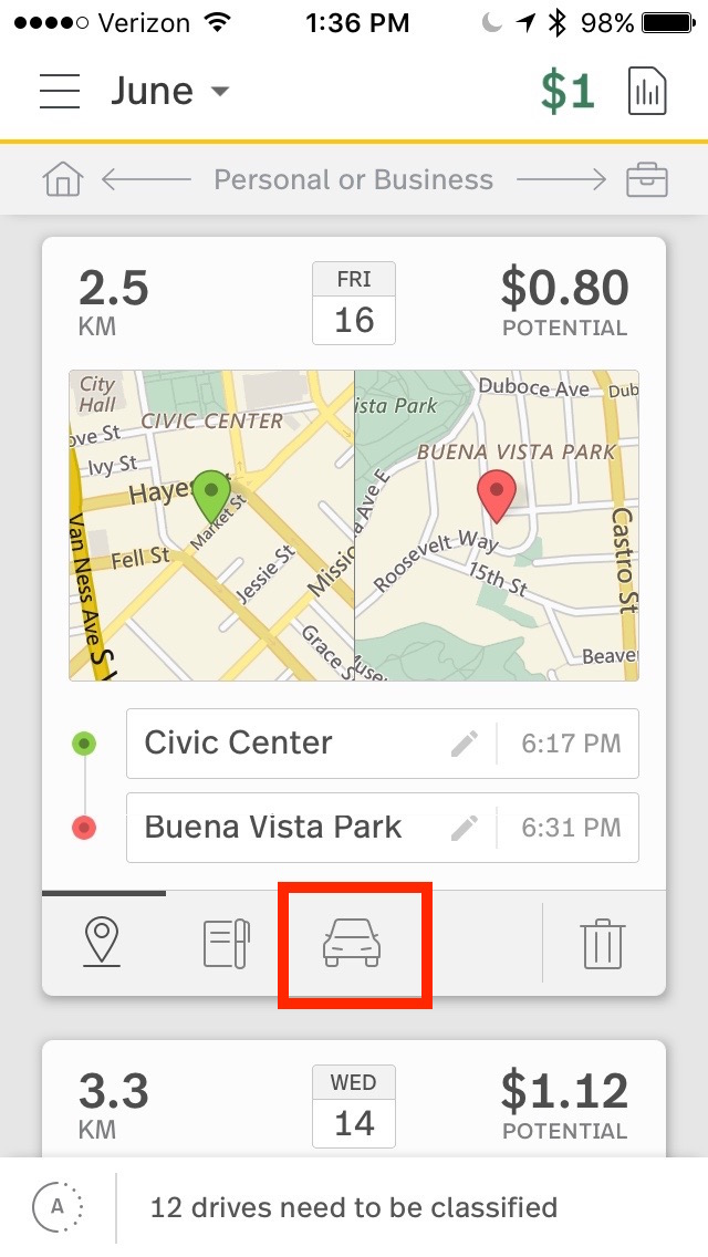 This image shows the drive card on the mobile app, highlighting the vehicles tab.