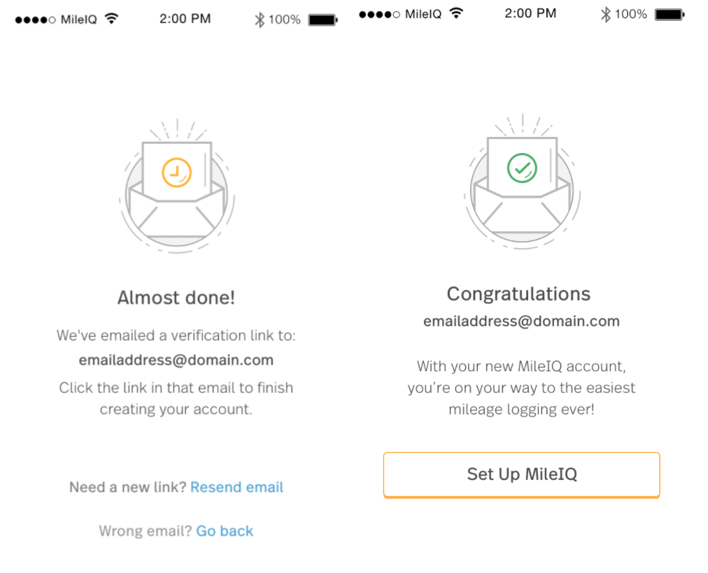 This image shows the email verification page on the mobile app.