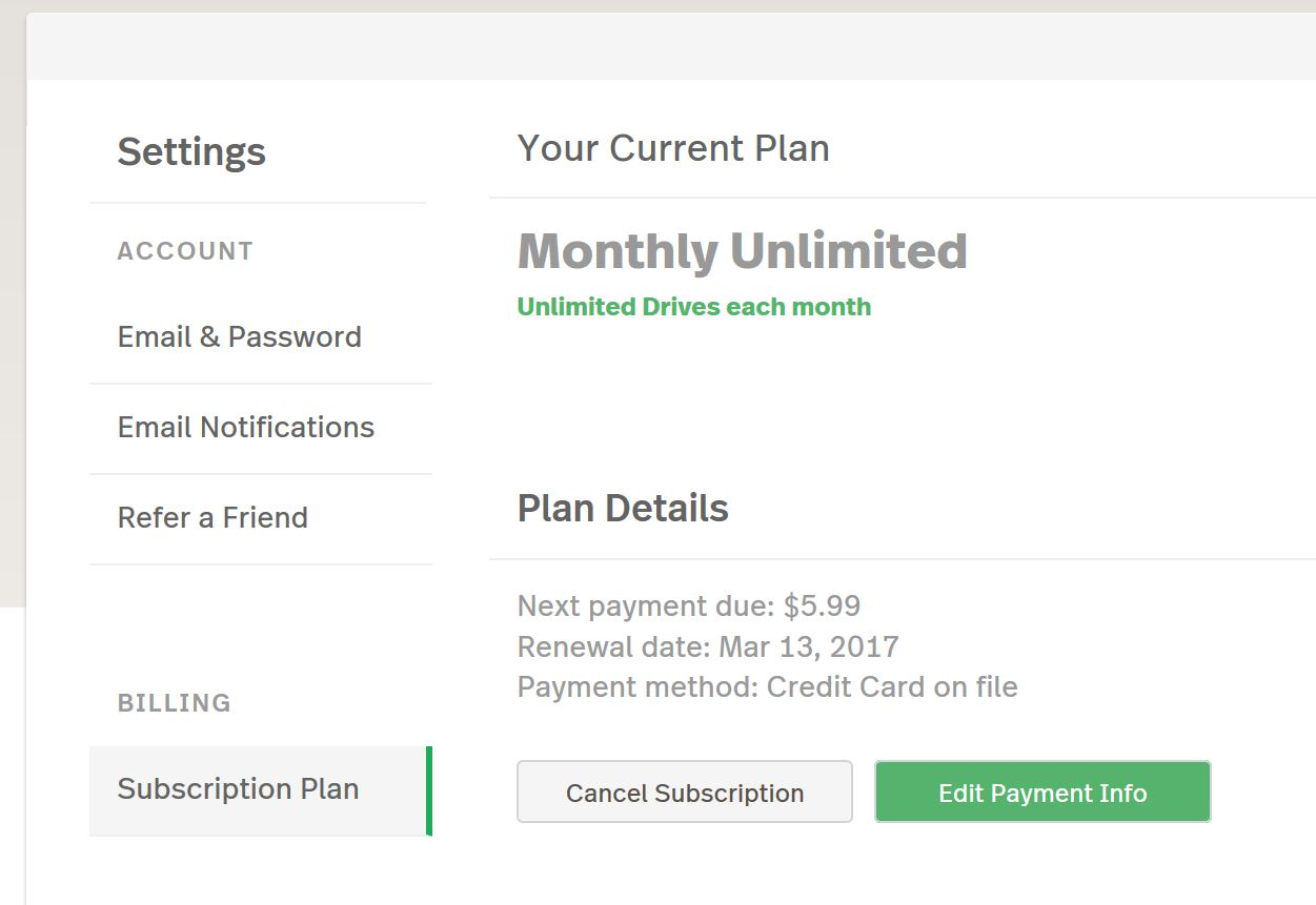 This shows the subscription plan page on the web dashboard where you can edit your payment info