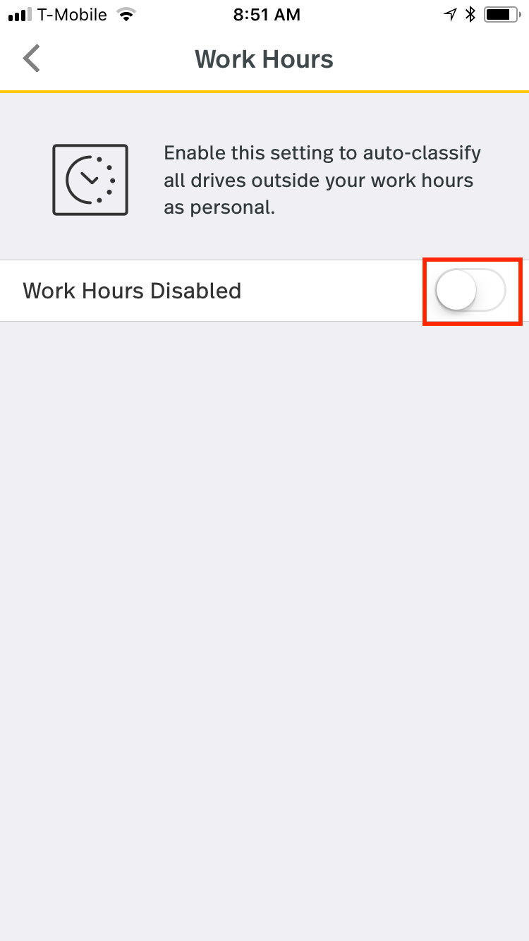 This screenshot shows Work Hours disabled with the option to enable this feature