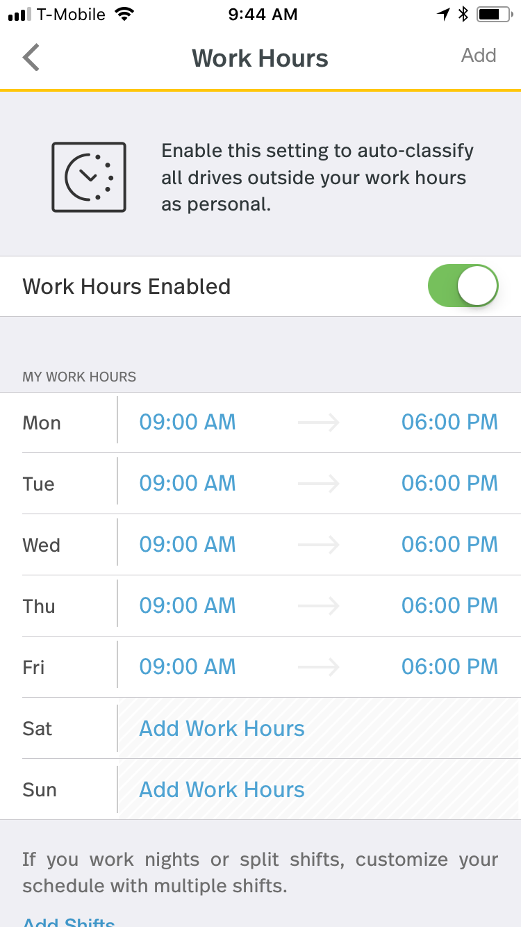 This screenshot shows Work Hours enabled with the times for each day of the week to set