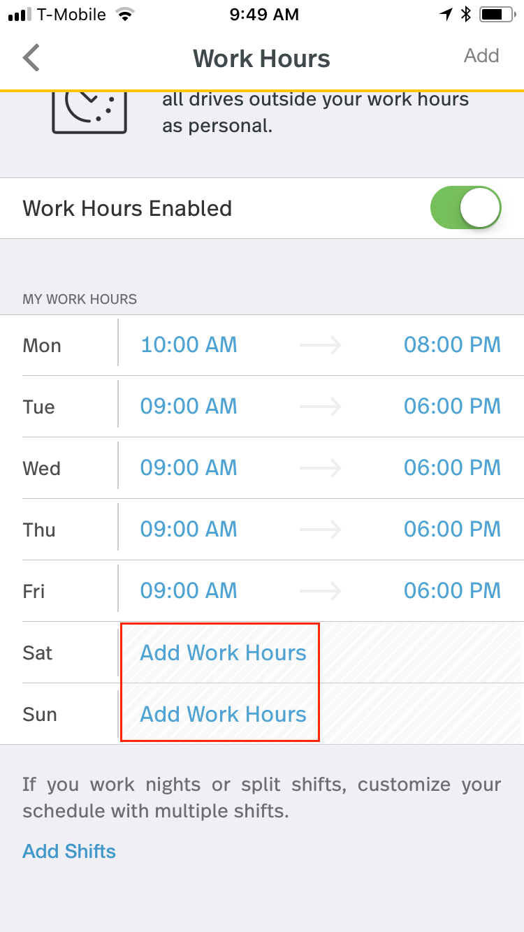 This screenshot shows the button Add Work Hours for Saturday and Sunday