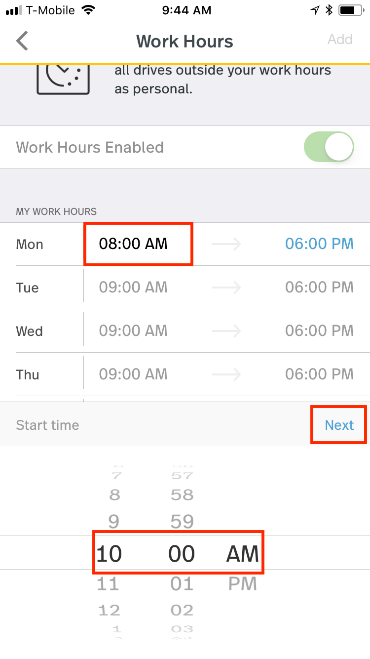 This screenshot shows setting the beginning time of a day with the option Next circled.