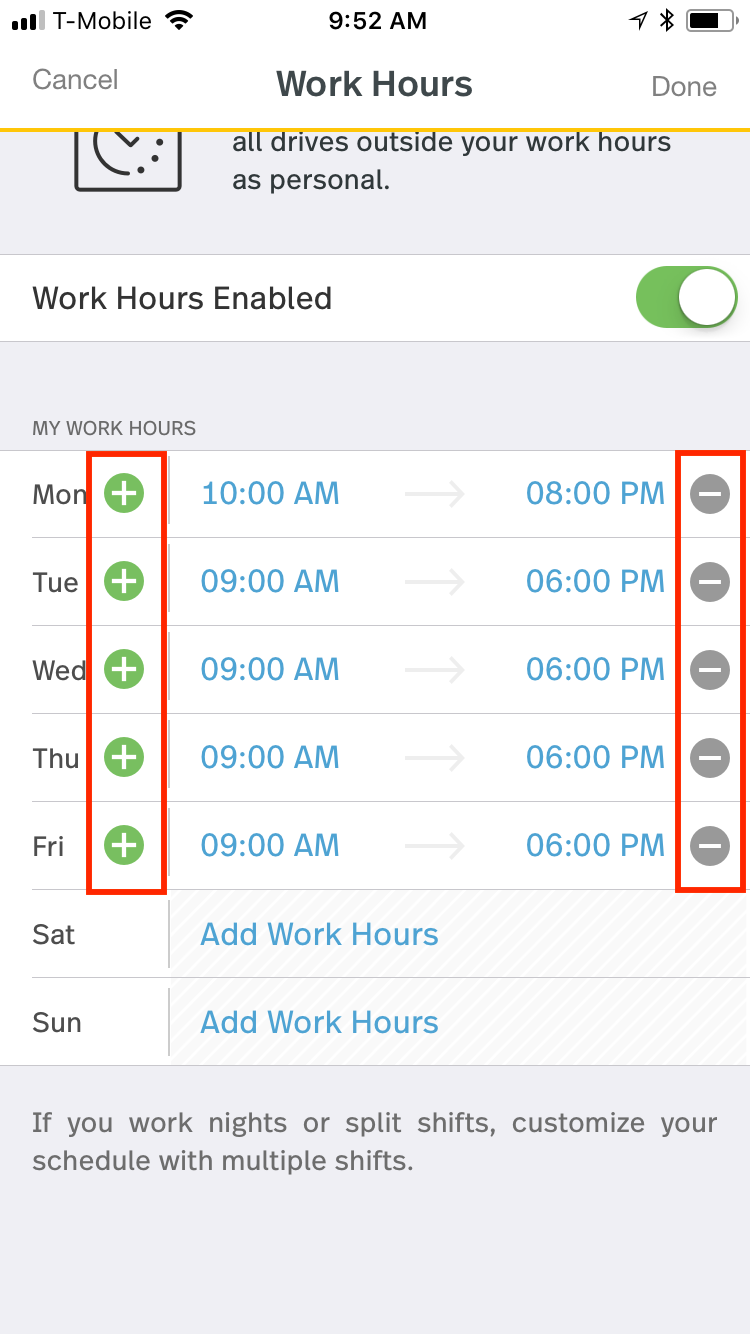 This screenshot shows the ability to add multiple shifts per day by taping the plus symbol next to the day of the week