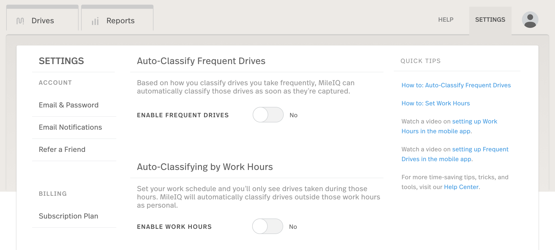 This image shows the web dashboard settings page, showing the enable auto-classification toggle.