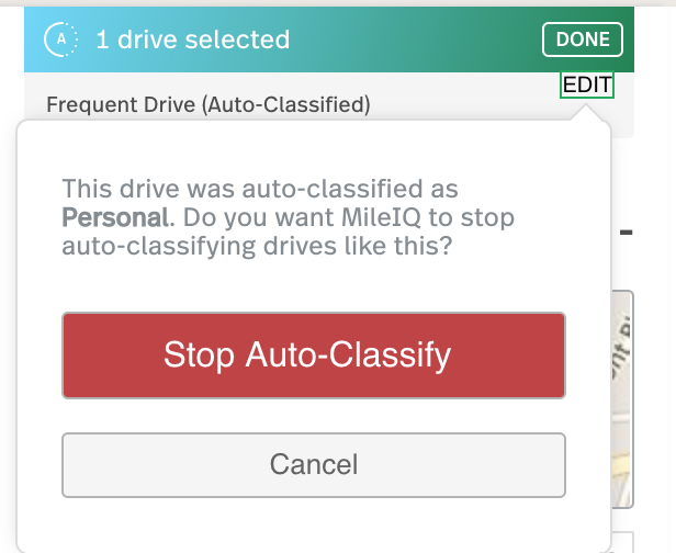 This image shows how to edit a Frequent Drive, highlighting the Stop Auto-Classify button.