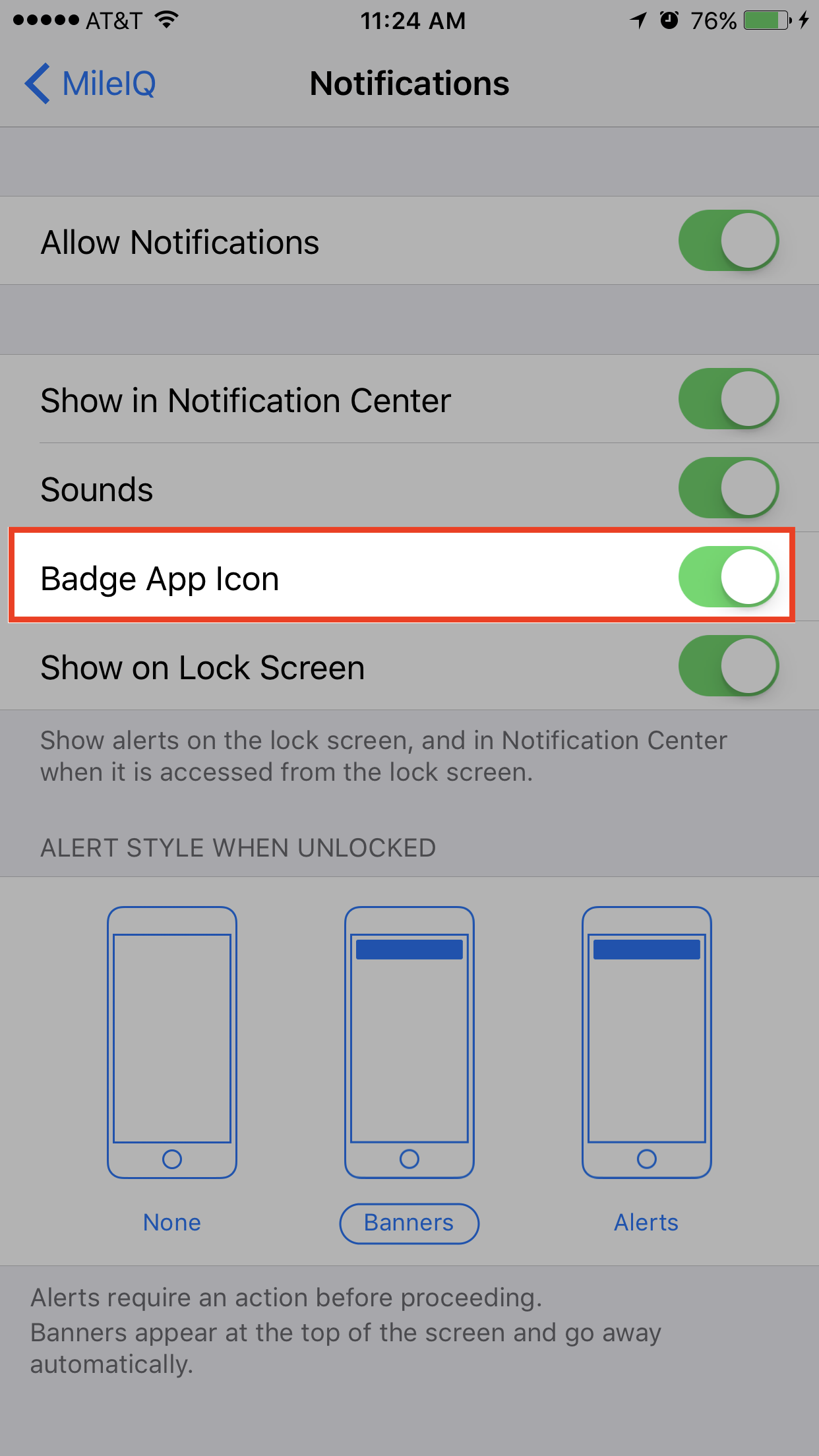 This image shows the Notifications page, highlighting the Badge App Icon toggle.