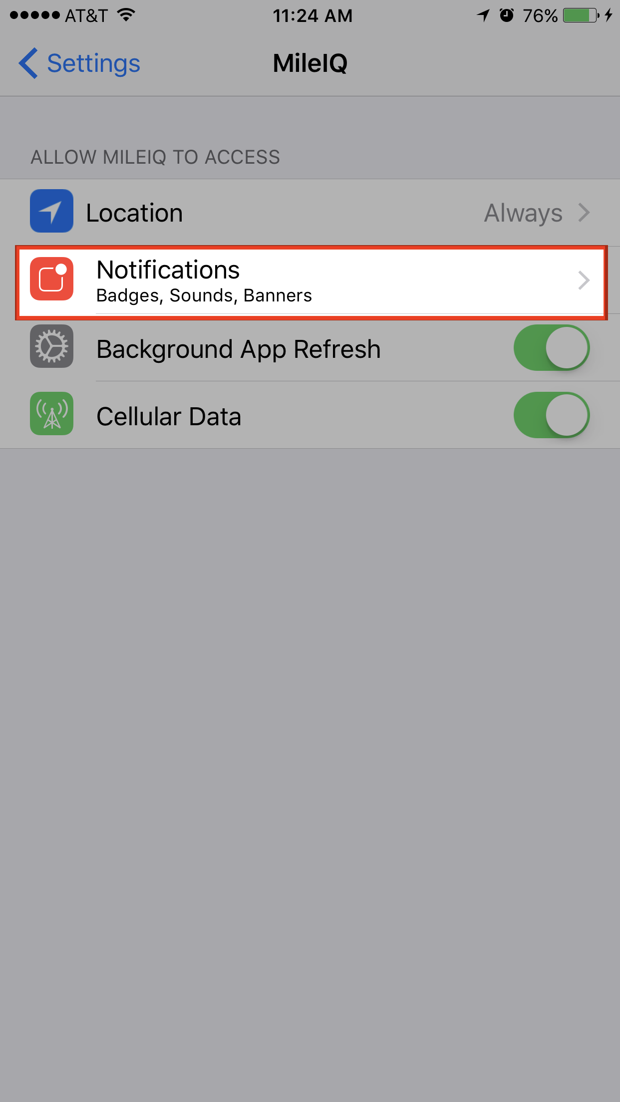 This image shows the Notifications page.