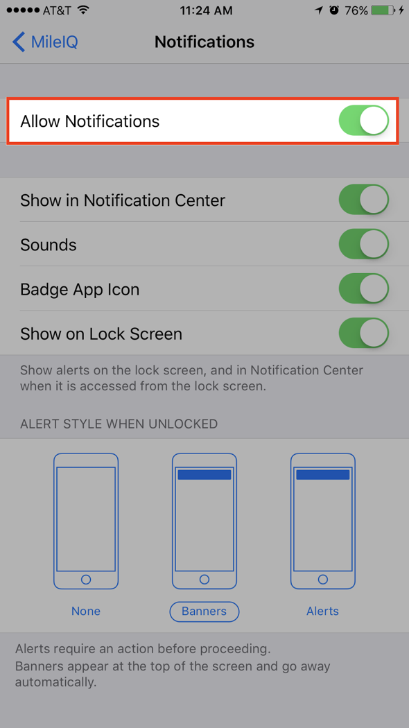 This image shows the Notifications page and highlights the Allow Notifications toggle.