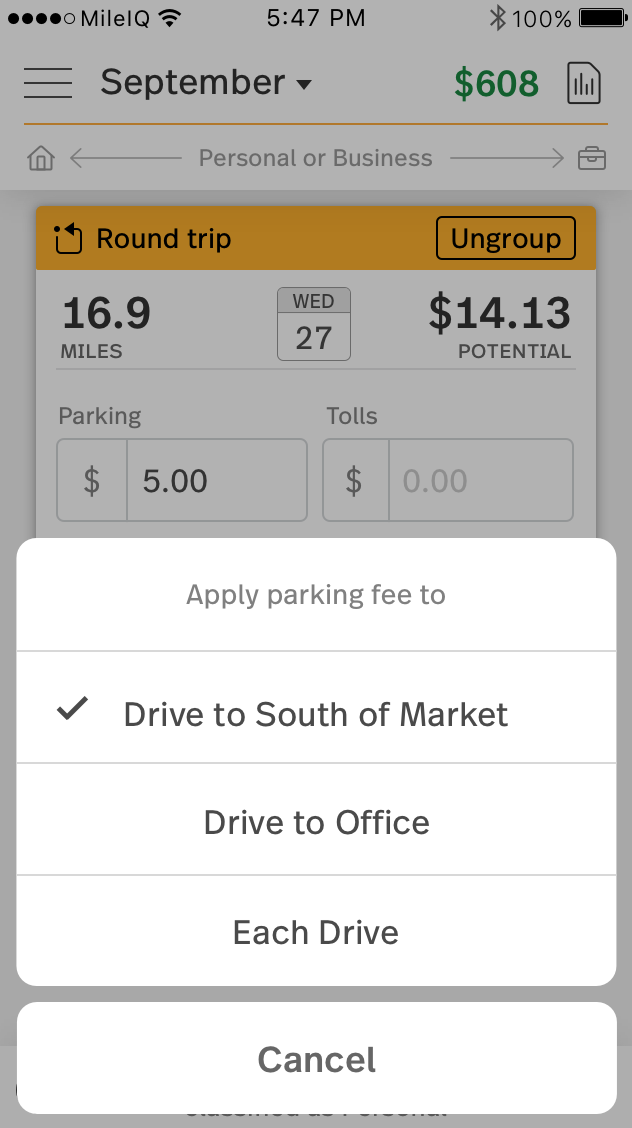 This image shows the options to apply a parking fee to the first leg of the drive, the returning leg of the drive, or both drives on the drive card.