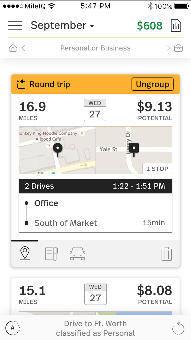 This image shows a round trip drive card on the mobile app.