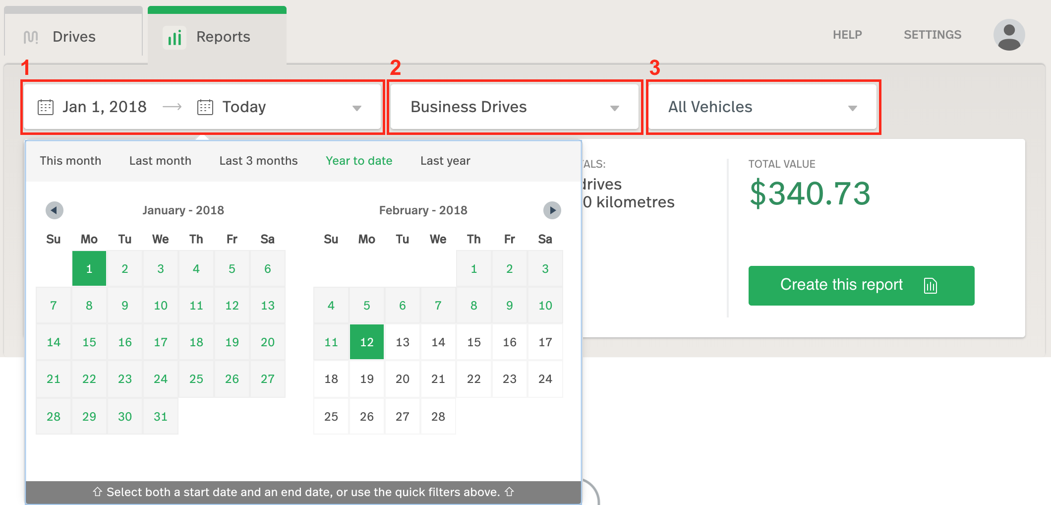 This image shows the Reports View. The date selector, drive selector, and vehicle selector are outlined in order.