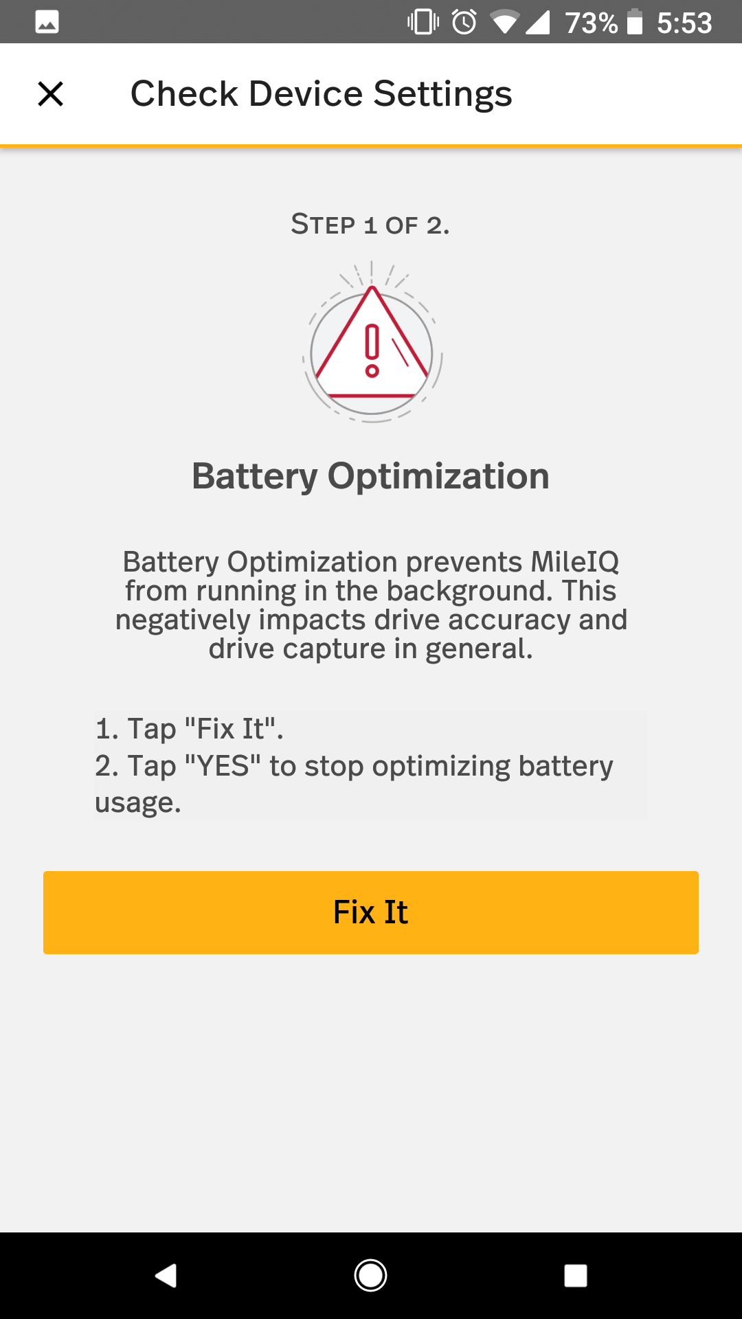 This shows the steps to allow MileIQ to operate with being Battery Optimized