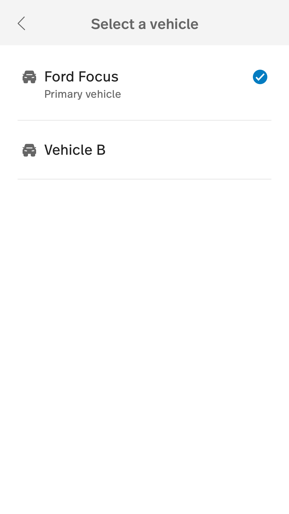 This image shows the vehicle list.