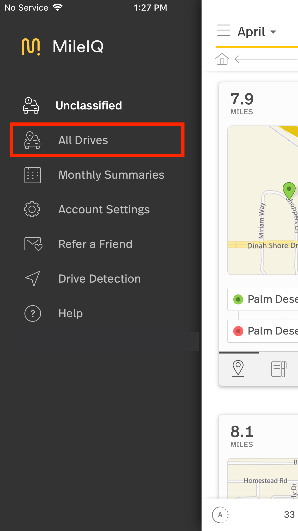 This image shows the Settings page on the mobile app, highlighting the All Drives button. g
