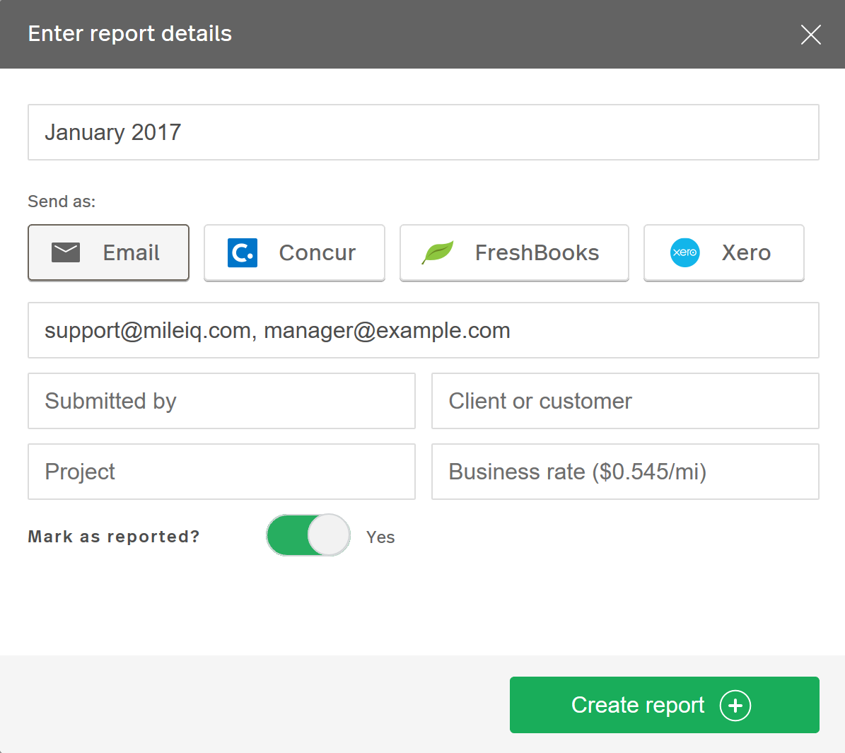 Screenshot showing the 'Enter report details' dialog box that appears when you create a report in the MileIQ Web Dashboard.