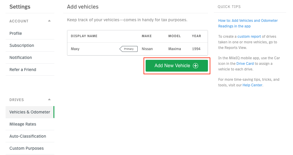 image of the Vehicles & odometer page, highlighting Add New Vehicle