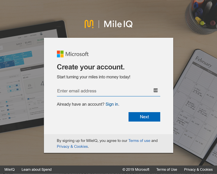 Screenshot showing the first part of the sign-up page on the MileIQ Web Dashboard, with a place to enter your email address