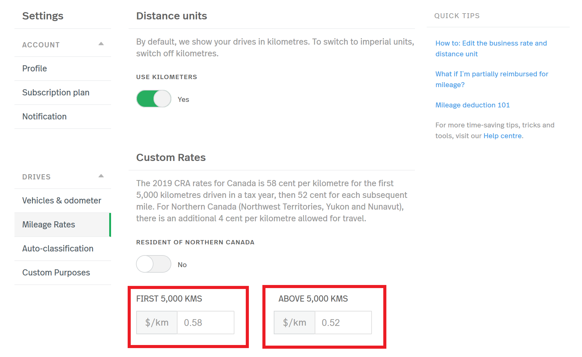 This screenshot shows the Rates and Units page of the MileIQ web dashboard. There are red boxes outlining the rates within and above 5,000 kilometres