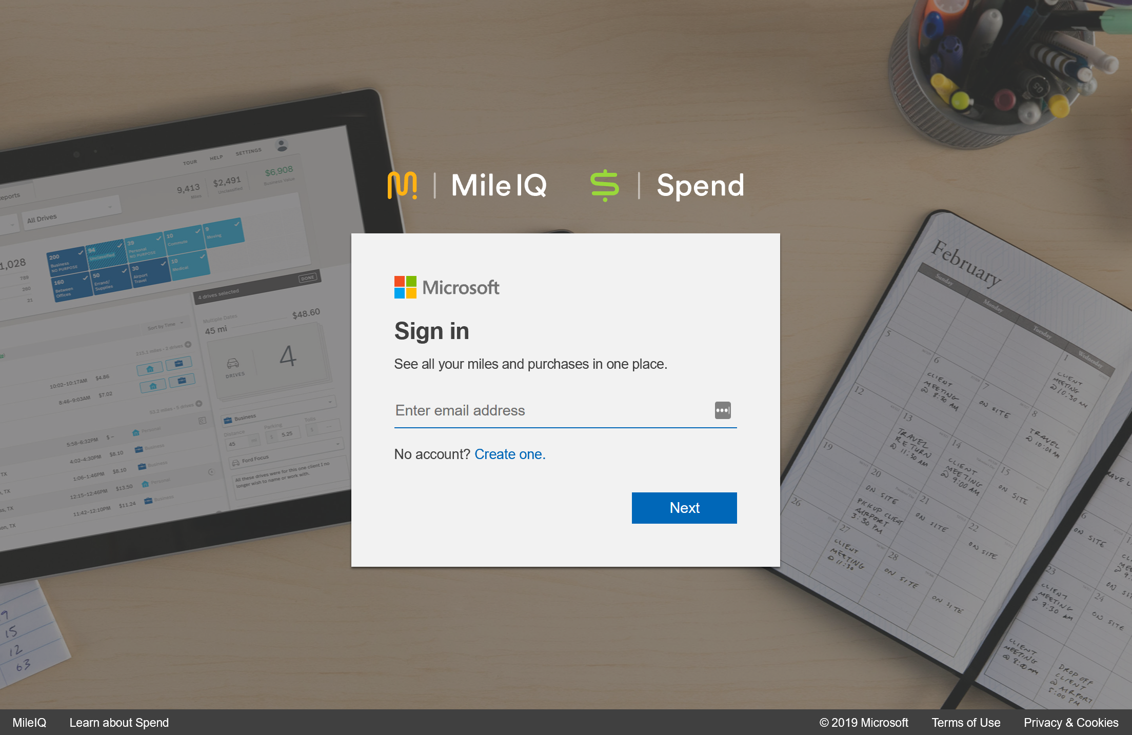 This screenshot shows the web dashboard login page