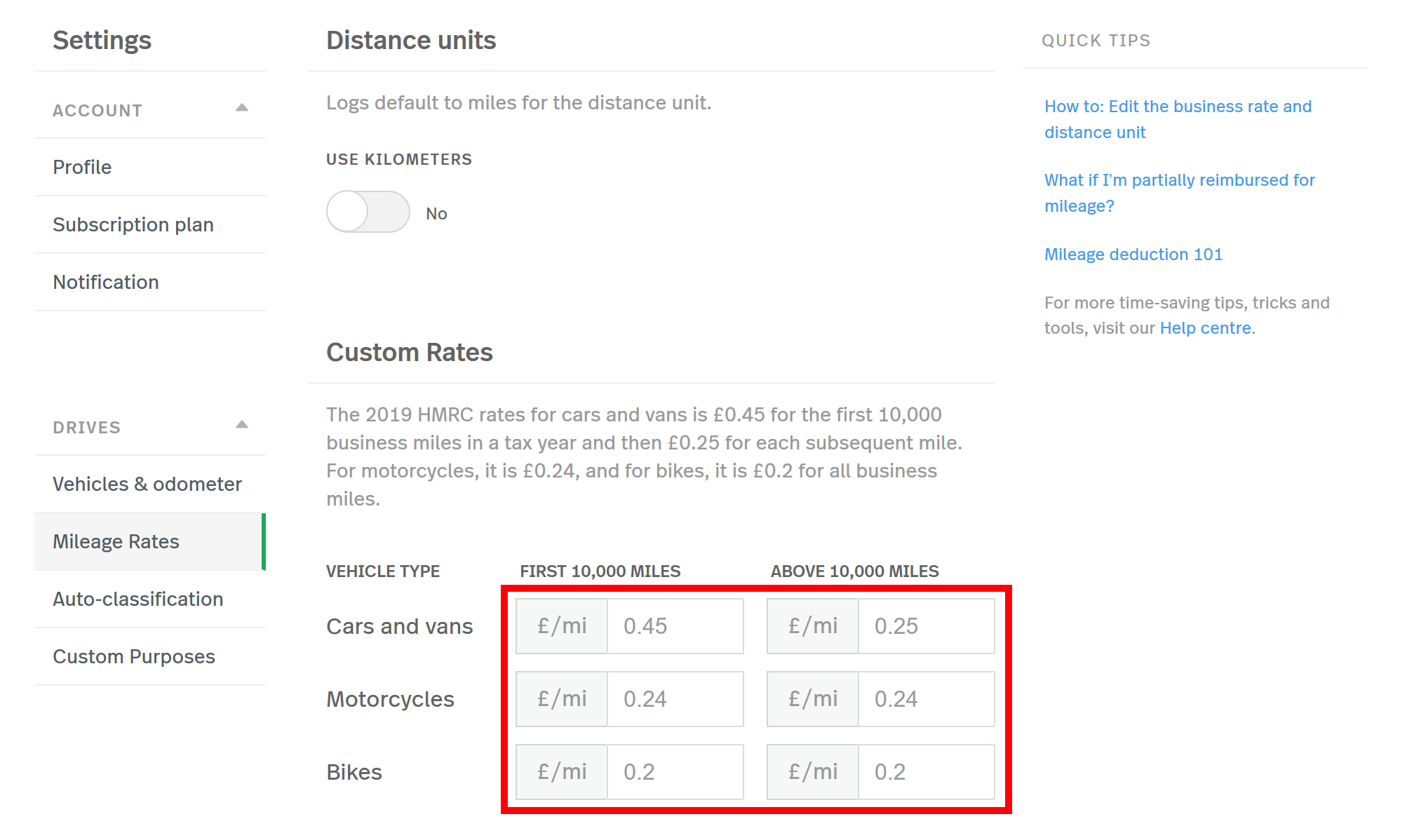 This screenshot shows the Mileage Rates settings page, highlighting the custom rate boxes
