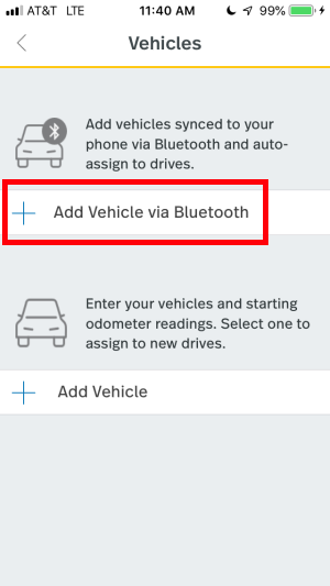 Screenshot of the Add Vehicles screen showing Bluetooth and manual options for adding vehicles