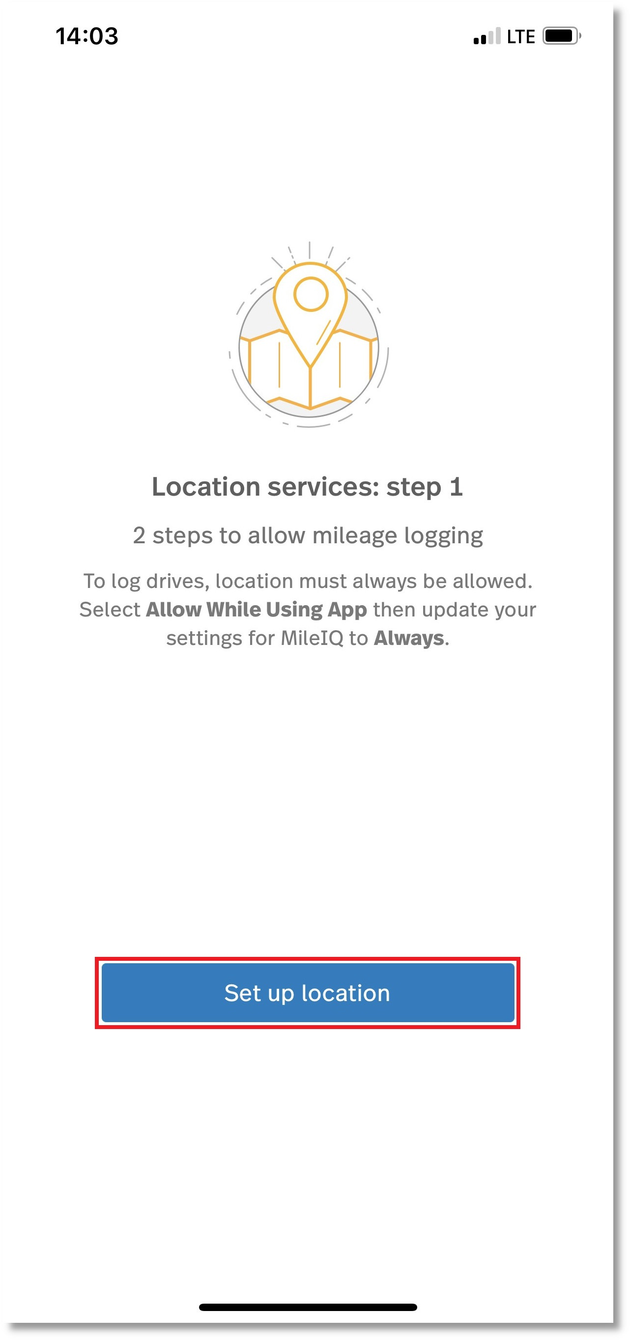Screenshot of the location services: step 1 screen within MileIQ
